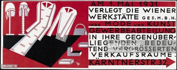 Mathilde Floegl Bill announcing the move of Wiener Werkstaette Coloured lithograph Vienna 1932 [Mathilde Floegl Umzugsanzeige der Wiener Werkstaette...