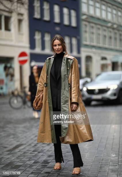 Mathilde Gøhler wearing a Bottega Veneta pouch and heels before Blanche on January 28, 2020 in Copenhagen, Denmark.