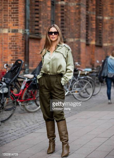 Mathilde Goehler wearing olive pants, boots, button shirt seen outside Mark Kenly Domino Tanduring Copenhagen Fashion Week Autumn/Winter 2020 Day 2...