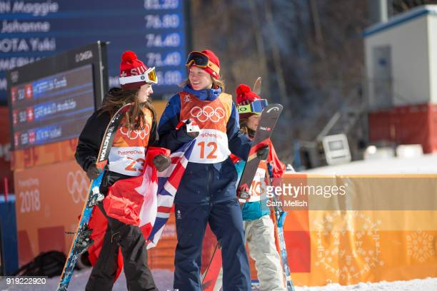 Mathilde Gremaud Switzerland SILVER walking with Isabel Atkin Great Britain BRONZE to the Womens Ski Slopestyle flower ceremony at the Pyeongchang...