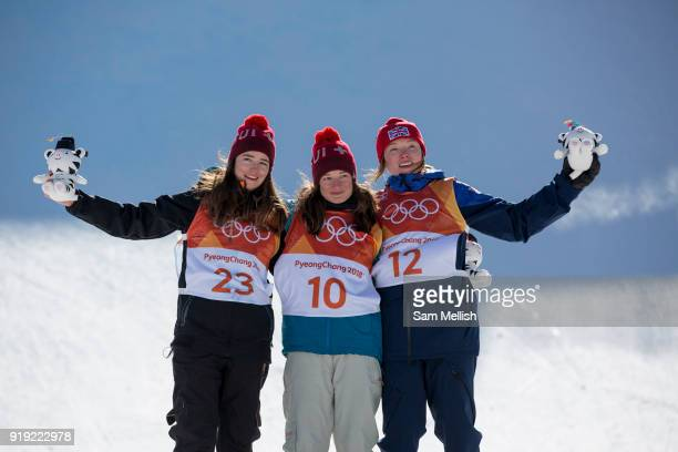 Mathilde Gremaud Switzerland SILVER with team mate Sarah Hofflin GOLD and Isabel Atkin Great Britain BRONZE during the Womens Ski Slopestyle flower...
