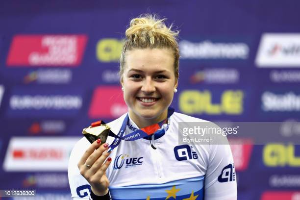 Mathilde Gros of France celebrates winning gold in the Women's Keirin during the track cycling on Day Six of the European Championships Glasgow 2018...