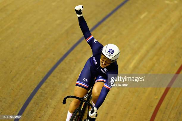 Mathilde Gros of France celebrates winning in the second race of the bronze final of the Women's Sprint during the track cycling on Day Four of the...
