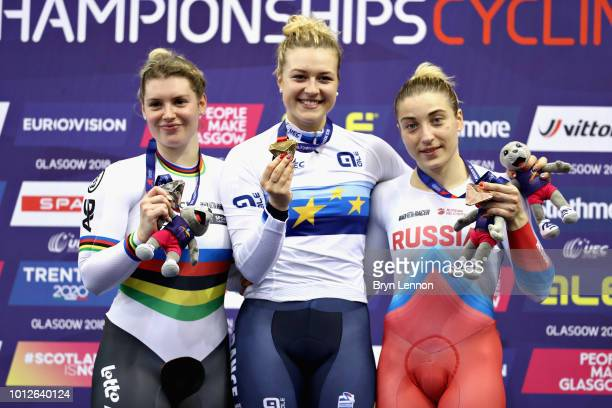Mathilde Gros of France Nicky Degrendele of Belgium and Daria Shmeleva of Russia are presented with their medals for the Women's Keirin during the...