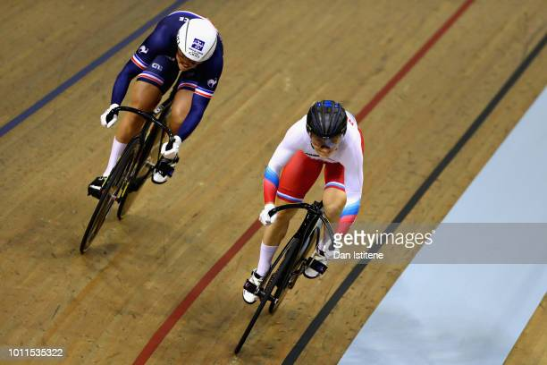 Mathilde Gros of France races Daria Shmeleva of Russia in the semi final of the Women's Sprint during the track cycling on Day Four of the European...
