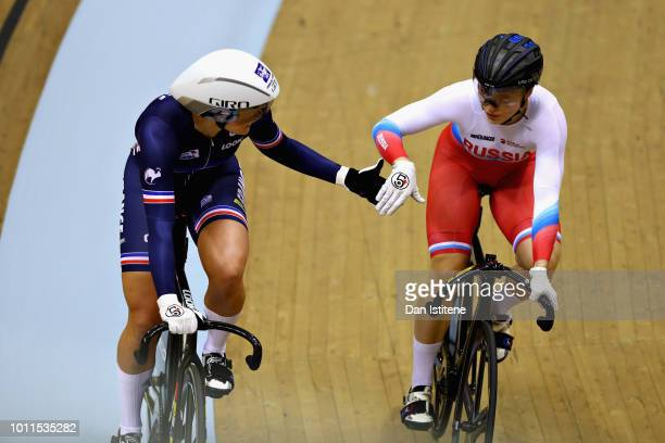 Mathilde Gros of France shakes hands with Daria Shmeleva of Russia in the semi final of the Women's Sprint during the track cycling on Day Four of...