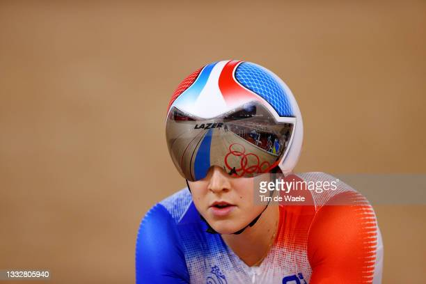 Mathilde Gros of Team France competes during the Women's sprint round of 8 finals - heat 4 of the track cycling on day filthen of the Tokyo 2020...