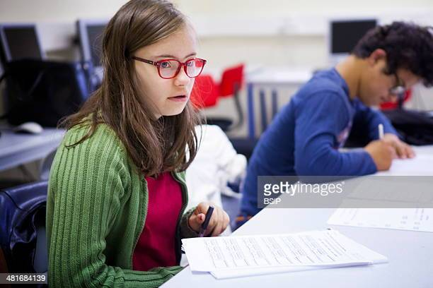 Mathilde is 15 and suffers from Down's Syndrome A retired teacher gives monthly lessons to Down's Syndrome teenagers