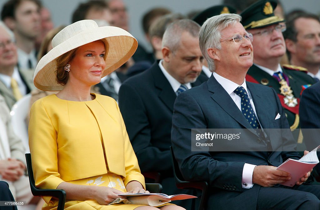 Mathilde of Belgium and King Philippe of Belgium attend the Belgian federal government ceremony to commemorate the bicentenary of the Battle of Waterloo on June 18, 2015 in Waterloo, Belgium. The ceremony is at the start of three days of official events marking the 200th anniversary of the Battle of Waterloo during which around 5000 historical re-enactors from around the world will take part in events culminating in a re-enactment of the allied defeat of Napoleon's army on June 20th. The 1815 battle saw the overthrow of Napoleon Bonaparte and the restoration of Louis XVIII to the French throne.