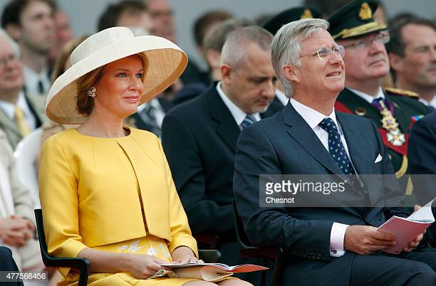 Mathilde of Belgium and King Philippe of Belgium attend the Belgian federal government ceremony to commemorate the bicentenary of the Battle of...