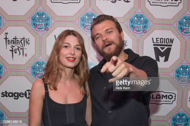 Mathilde Ollivier and Pilou Asbaek attend the World Premiere of 'Overlord' during the 2018 Fantastic Fest Film Festival on September 22 2018 in...