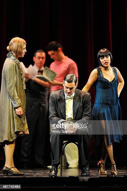 Mathilde Ollivier Patrice Maktav and Carmen Maria Vega perform onstage during their last showing of 'Mistinguett Reine des Annes Folles' at Casino de...