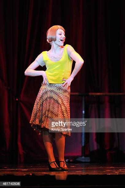 Mathilde Ollivier performs onstage during the last showing of 'Mistinguett Reine des Annes Folles' at Casino de Paris on January 18 2015 in Paris...