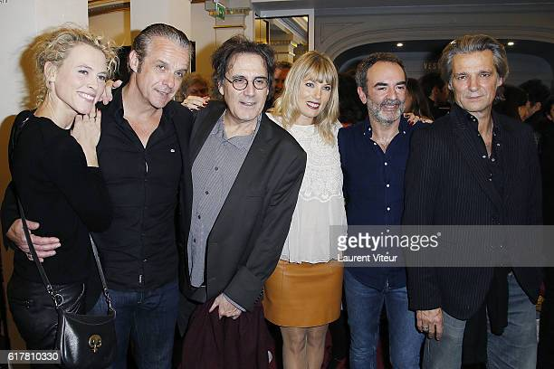 Mathilde Penin David Brecourt Eric Assous Melanie Page Bruno Solo and Yvan Le Bolloc'h attend L'Heureux Elu theater play premiere at Theatre de La...
