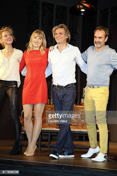 Mathilde Penin Melanie Page Yvan Le Bolloc'h Bruno Solo play L'Heureux Elu theater play premiere at Theatre de La Madeleine on October 24 2016 in...