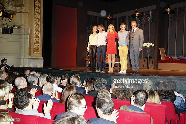 Mathilde Penin Yvan Le Bolloc'h Melanie Page Bruno Solo and David Brecourt play L'Heureux Elu theater play premiere at Theatre de La Madeleine on...