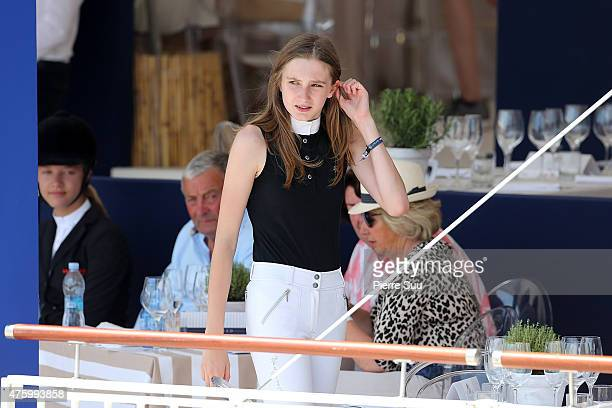 Mathilde Pinault competes at the Longines Athina Onassis horse Show on June 5 2015 in SaintTropez France