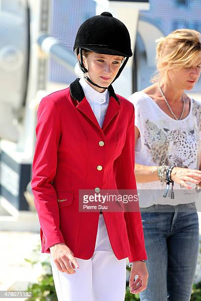 Mathilde Pinault competes at the Longines Athina Onassis Horse Show on June 6 2015 in SaintTropez France
