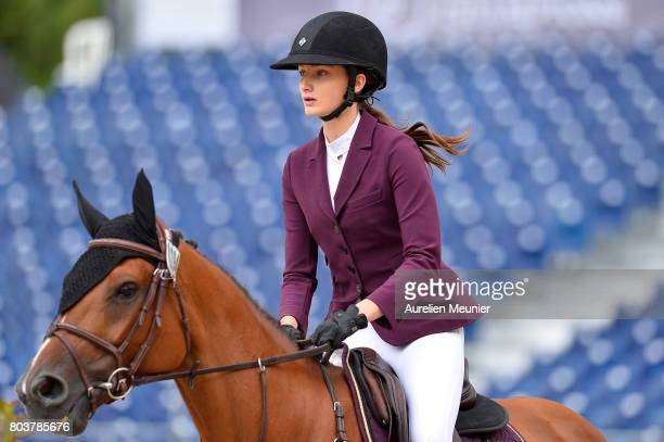 Mathilde Pinault of France and Lotta compete on day 1 in the 4th Longines Paris Eiffel Jumping competiton on June 30 2017 in Paris France