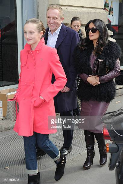 Mathilde Pinault Salma Hayek and FrancoisHenri Pinault arrive at the Gucci show during Milan Fashion Week Womenswear Fall/Winter 2013/14 on February...