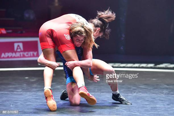 Mathilde Riviere of France and Mimi Hristova of Bulgaria during the International wrestling test match between France and Bulgaria at Le Cirque...