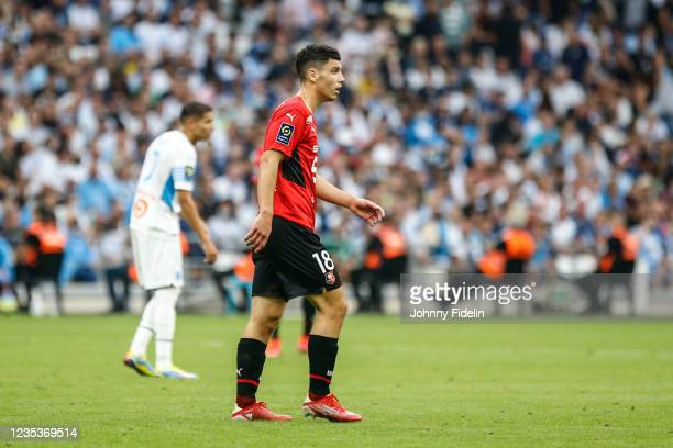 Mathis ABLINE of Rennes during the Ligue 1 Uber Eats match between Marseille and Rennes at Orange Velodrome on September 19, 2021 in Marseille,...