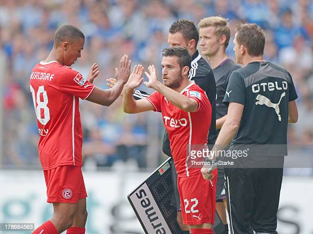 Mathis Bolly of Duesseldorf leaves the pitch for Giannis Gianniotas during the Second Bundesliga match between Arminia Bielefeld and Fortuna...