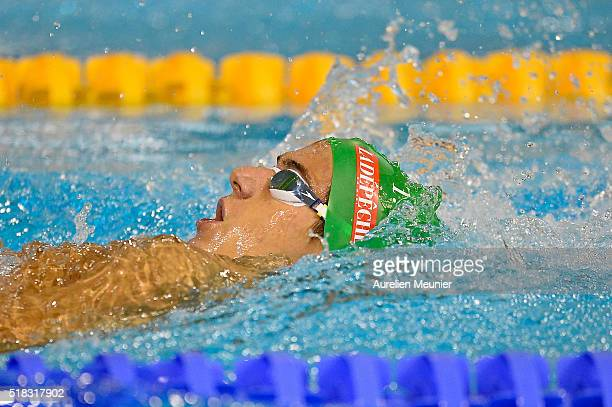 Mathis Castera of France competes in the 400m Men's medley on day three of the French National Swimming Championships on March 31 2016 in Montpellier...