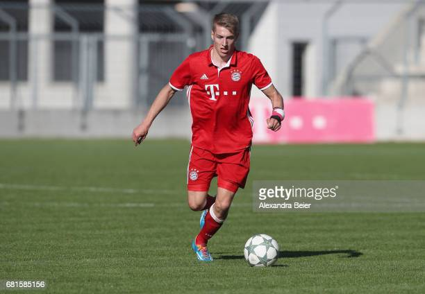 Mathis Lange of FC Bayern Muenchen kicks the ball during the AJuniors semi final first leg German Championship match between FC Bayern Muenchen and...