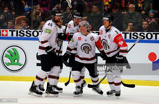 Mathis Olimb of Gothenburg celebrates after he scores his team's 2nd goal during the Champions Hockey League final match at Coop Norrbotten Arena on...