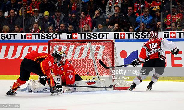 Mathis Olimb of Gothenburg scores his team's 2nd goal during the Champions Hockey League final match at Coop Norrbotten Arena on February 3 2015 in...