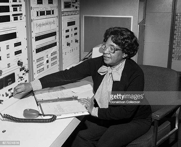 Mathmatician Mary Jackson the first black woman engineer at NASA poses for a photo at work at NASA Langley Research Center on January 7 1980 in...