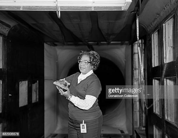 Mathmatician Mary Jackson, the first black woman engineer at NASA poses for a photo at work at NASA Langley Research Center in 1977 in Hampton,...