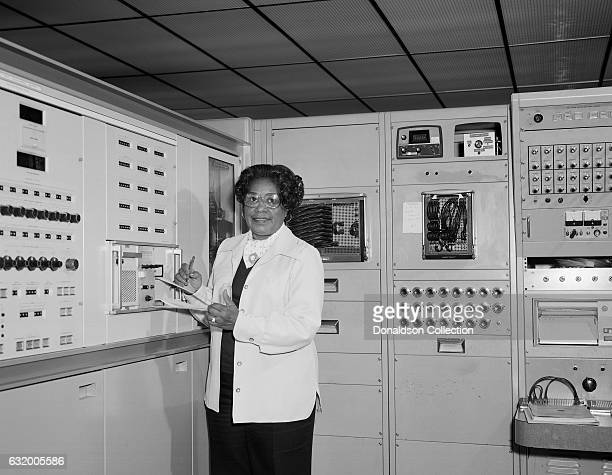 Mathmatician Mary Jackson the first black woman engineer at NASA poses for a photo at work at NASA Langley Research Center in 1977 in Hampton Virginia