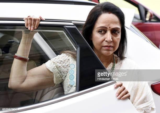 Mathura Lok Sabha and Actress Hema Malini during the Parliament Budget Session Part 2 on March 15 2017 in New Delhi India