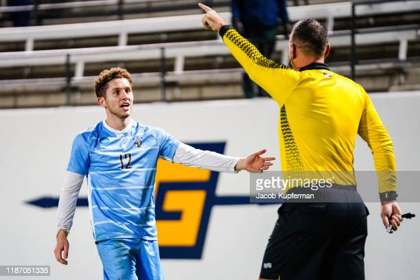 Mati Cano of Tufts Jumbos questions the ref during the Division III Men's Soccer Championship held at UNCG Soccer Stadium on December 7 2019 in...