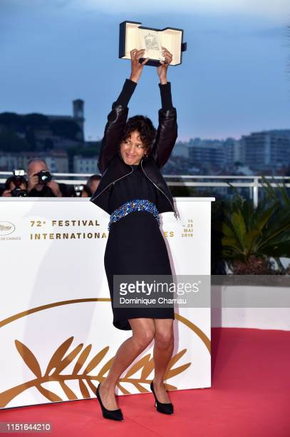 Mati Diop winner of the Grand Prix Award for the film Atlantique poses at thewinner photocall during the 72nd annual Cannes Film Festival on May 25...
