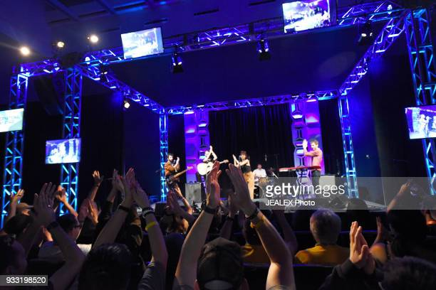 Mati Gilad Gil Landau Yael Shoshana Cohen Dekel Dvir and Rami Osservaser of Lola Marsh perform onstage at International Day Stage during SXSW on...