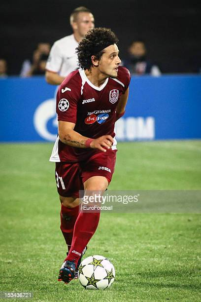 Matias Aguirregaray of CFR 1907 Cluj in action during the UEFA Champions League group stage match between CFR 1907 Cluj and Manchester United FC on...