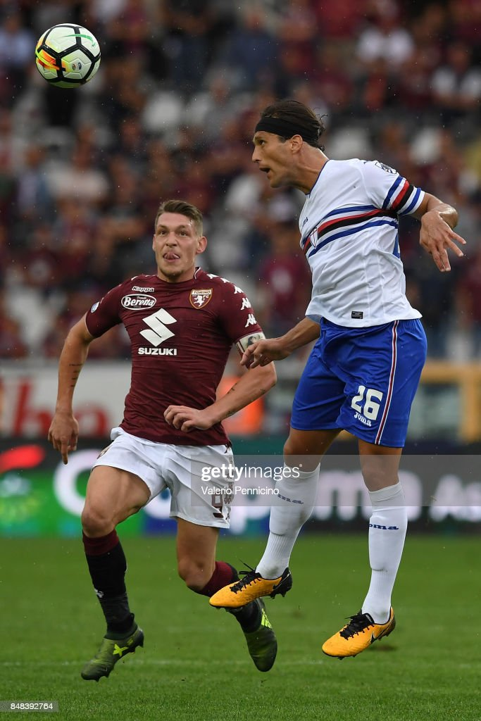 Matias Agustin Silvestre (R) of UC Sampdoria in action against Andrea Belotti of Torino FC during the Serie A match between Torino FC and UC Sampdoria at Stadio Olimpico di Torino on September 17, 2017 in Turin, Italy.