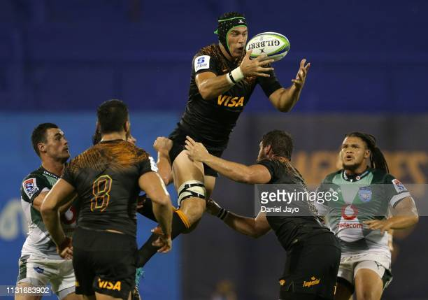 Matias Alemanno of Jaguares jumps for the ball during the Super Rugby Rd 2 match between Jaguares and Bulls at Jose Amalfitani Stadium on February 23...
