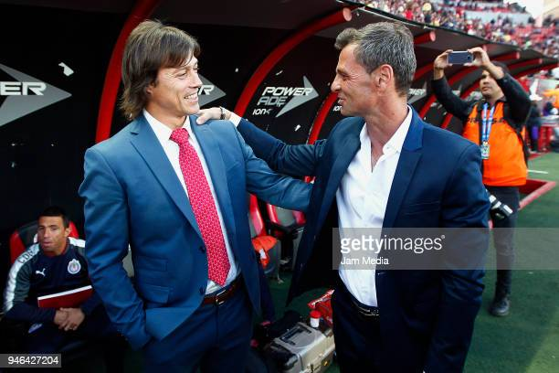 Matias Almeyda coach of Chivas and Diego Cocca coach of Tijuana talk prior the 15th round match between Tijuana and Chivas as part of the Torneo...