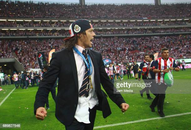 Matias Almeyda coach of Chivas celebrates the championship after winning the Final second leg match between Chivas and Tigres UANL as part of the...