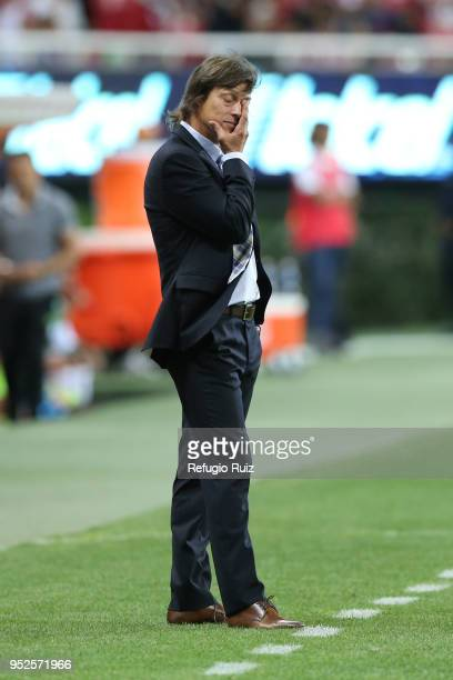 Matias Almeyda coach of Chivas gestures during the 17th round match between Chivas and Leon as part of the Torneo Clausura 2018 Liga MX at Akron...