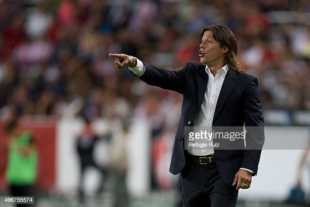 Matias Almeyda coach of Chivas gives instructions to his players during the 14th round match between Atlas and Chivas as part of the Apertura 2015...