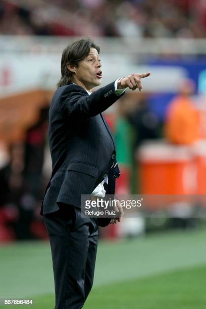 Matias Almeyda coach of Chivas gives instructions to his players during the 15th round match between Chivas and Tijuana as part of the Torneo...