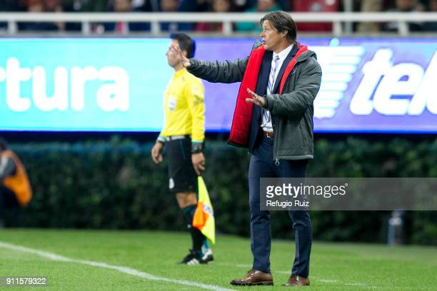 Matias Almeyda coach of Chivas gives instructions to his players during the 4th round match between Chivas and Monterrey as part of the Torneo...