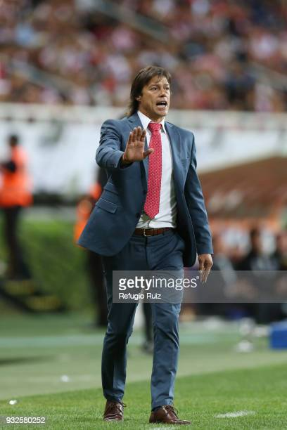 Matias Almeyda coach of Chivas gives instructions to his players during the quarterfinals second leg match between Chivas and Seattle Sounders as...