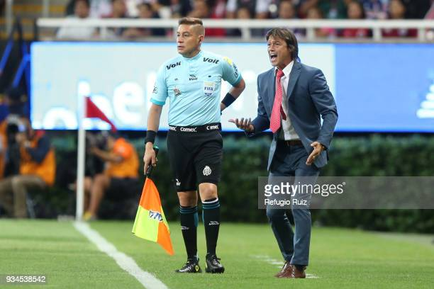 Matias Almeyda coach of Chivas gives instructions to his players during the 12th round match between Chivas and Tigres UANL as part of the Torneo...