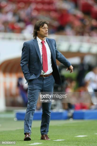 Matias Almeyda coach of Chivas gives instructions to his players during the semifinal match between Chivas and New York RB as part of the CONCACAF...